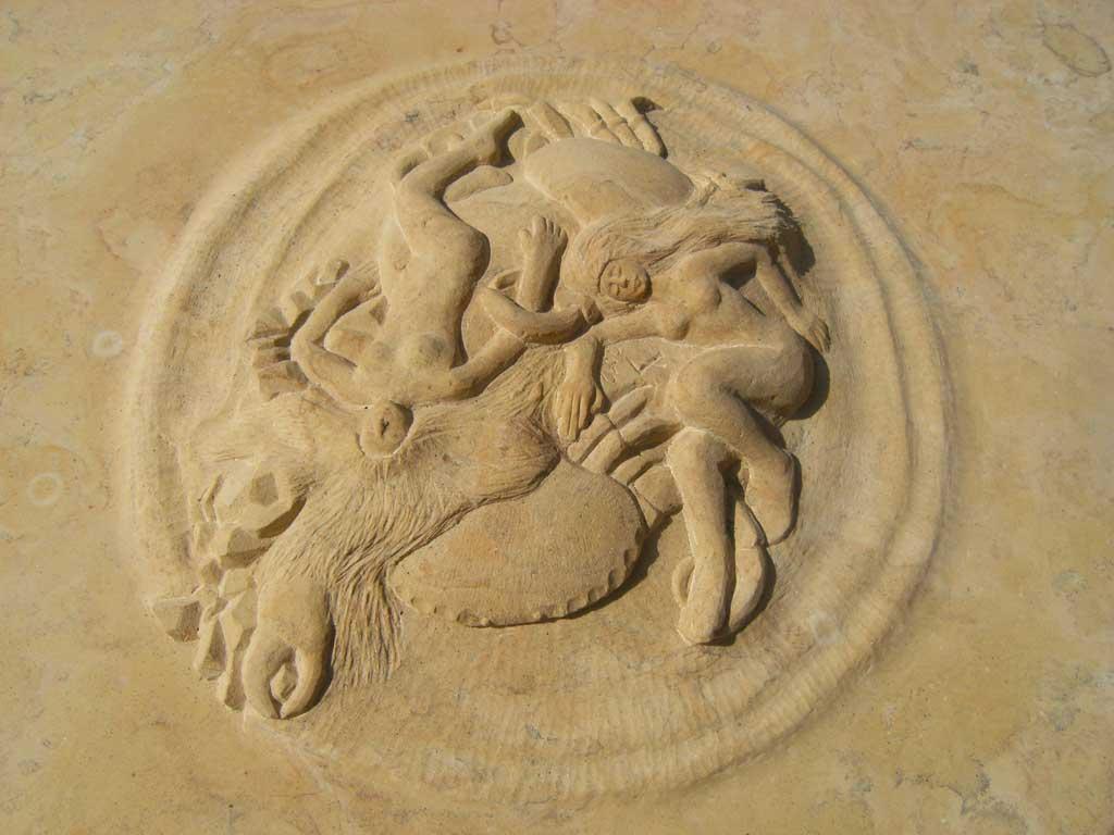 Sandsteintischplatte